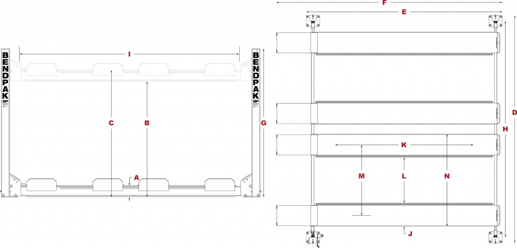 HD-9SW-Double-Wide-Four-Post-Lift-Specifcations-Diagram