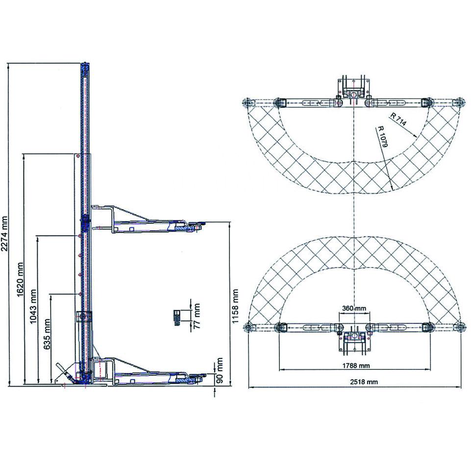 Kernel 2柱ポータブルリフト寸法図